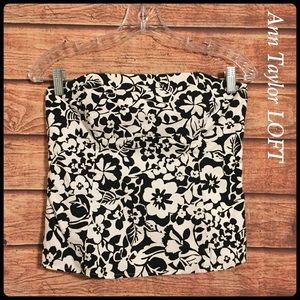 Ann Taylor LOFT strapless floral cropped top